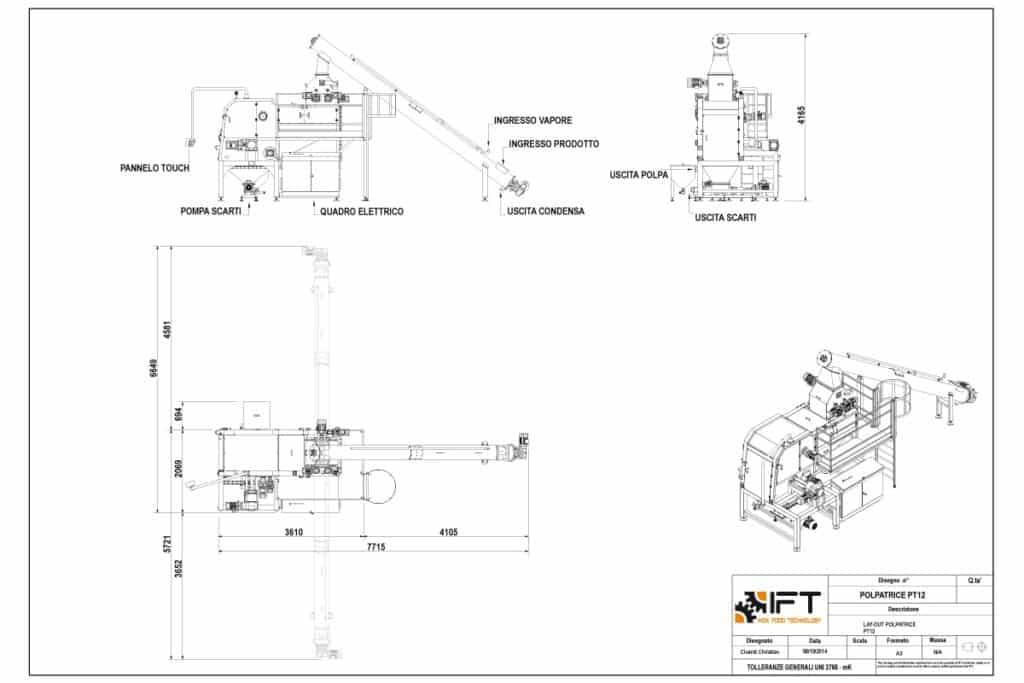 Polpatrice IFT Inox Food Technology disegno tecnico